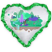 Подушка атласна у формі Серця з Вашим дизайном Зелений