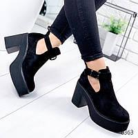 Ботильоны туфли женские на удобном каблуке с ремешком черные замшевые