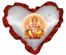 Подушка атласна у формі Серця з Вашим дизайном Бордовий