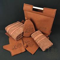 Подарочный набор для бани и сауны 6в1 (коричневый). Банный комплект с непромокаемой сумкой