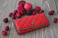 Кожаный женский клатч-кошелек / Женский клатч из натуральной кожи, цвет красный