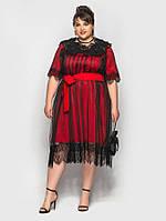 """Нарядное комбинированное платье """"Madrid"""" с кружевом (большие размеры)"""