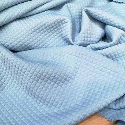 Трикотаж стеганный мелкий ромб голубой, фото 2