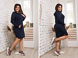 Модное женское трикотажное платье с капюшоном,размеры:48,50,52,54., фото 2