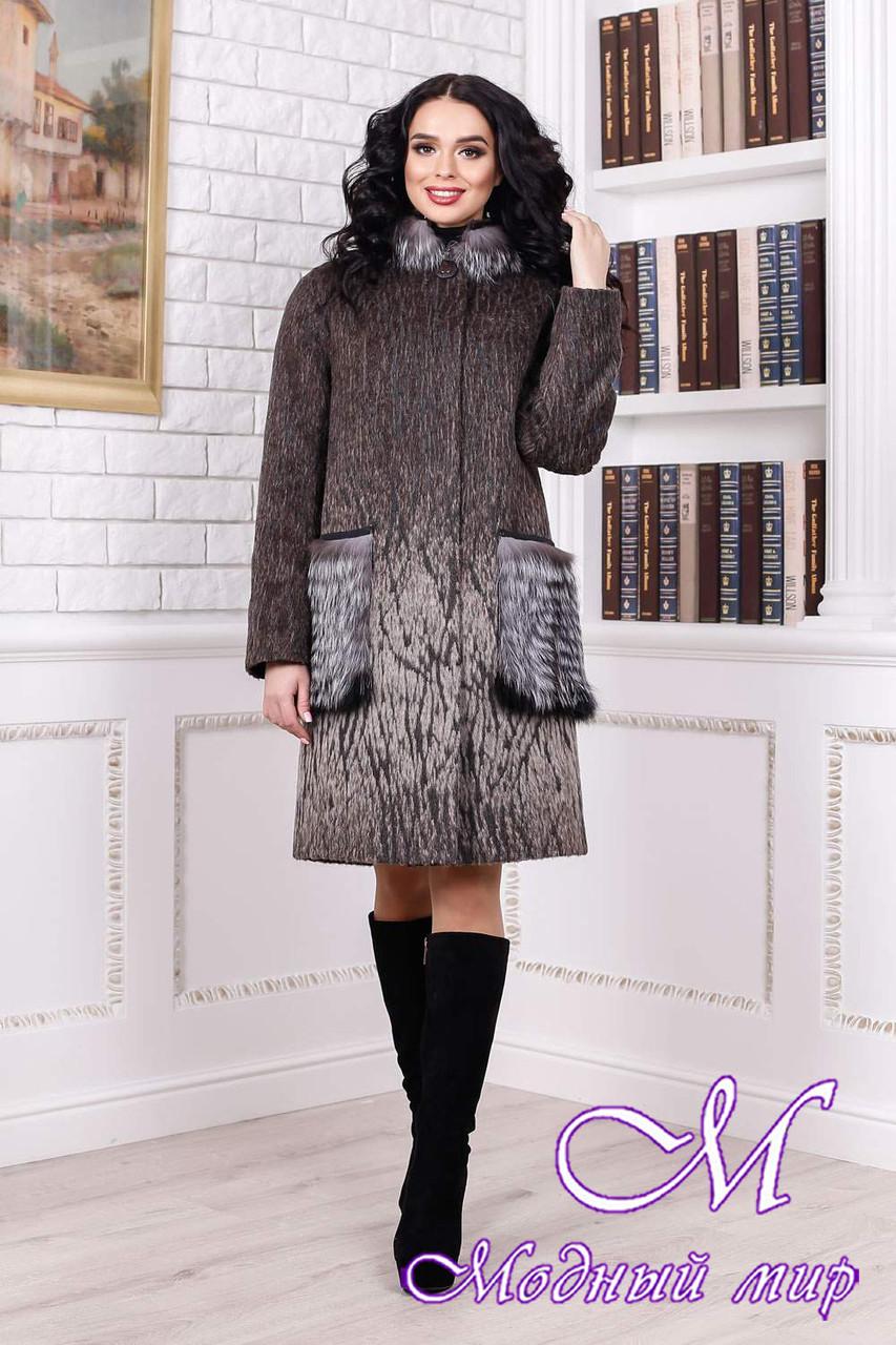 Женское меховое зимнее пальто коричневого цвета (р. 44-58) арт. 996 Тон 108