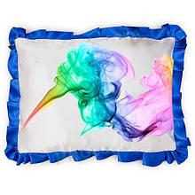 Подушка атласна прямокутна з Вашим дизайном Синій