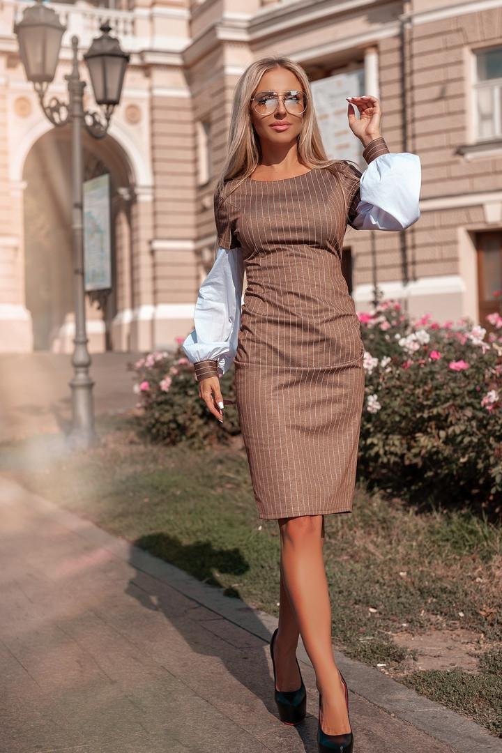 """Облегающее комбинированное миди-платье в полоску """"Domenica"""" с длинным рукавом"""