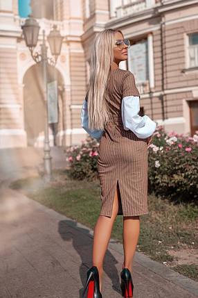 """Облегающее комбинированное миди-платье в полоску """"Domenica"""" с длинным рукавом, фото 2"""