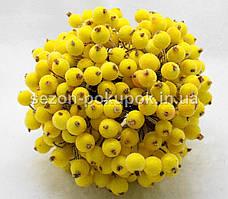 Калина сахарная для рукоделия  Ø12мм, 400 ягодок (200 двухсторонних проволочек) Цвет - Жёлтый