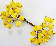 (Пучок) Калина сахарная для рукоделия  Ø12мм, 40 ягодок (20 двухсторонних проволочек) Цвет - Жёлтый