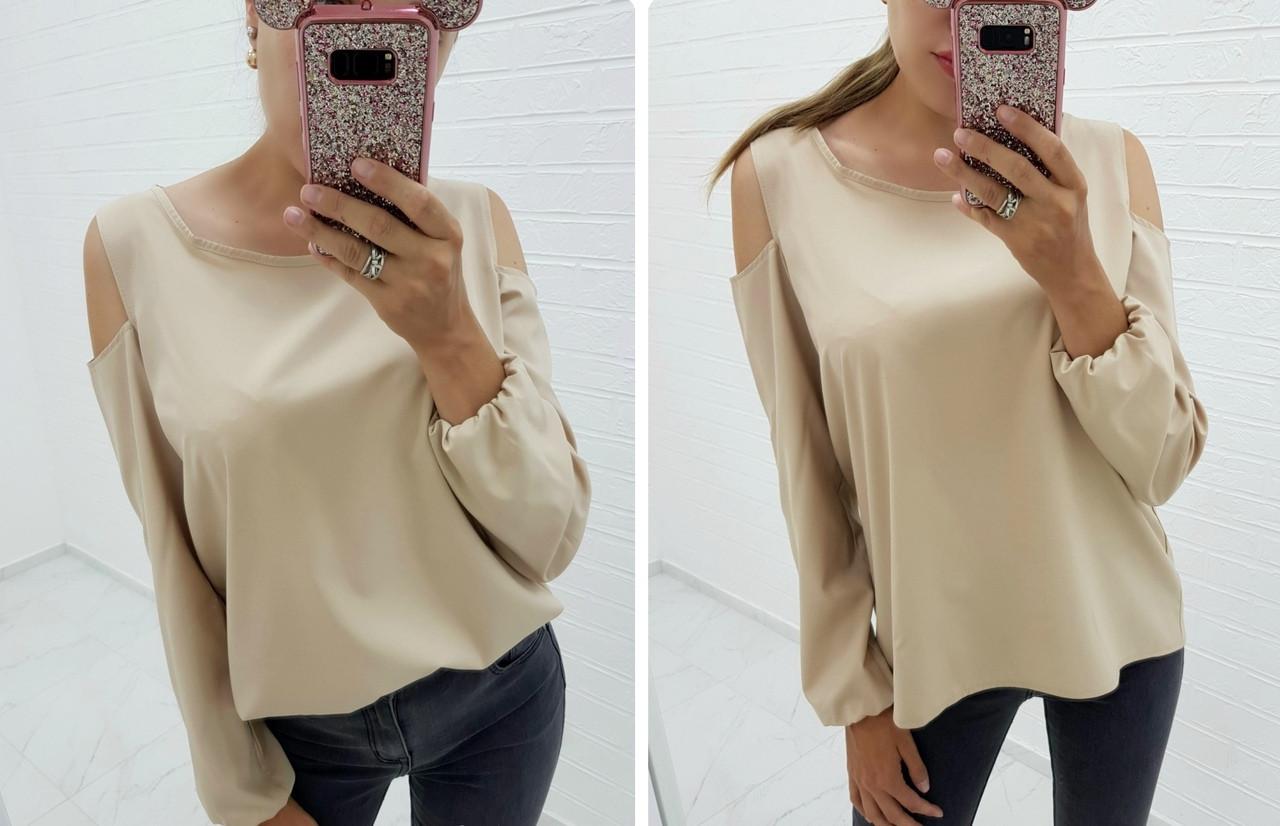 Женская рубашка свободного кроя с открытыми плечами  48-50, 52-54
