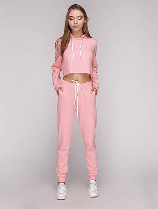 Кроп топ женский спортивный с капюшоном розовый, фото 2