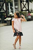 Шёлковое платье для девочки Анжелика нежно-розового цвета