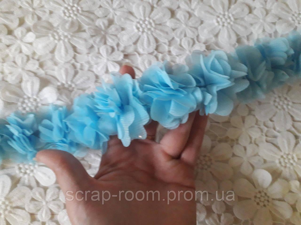 Лента шифоновая голубая, шифоновая лента цветы, голубая шифоновая лента, цена указана за  30 см