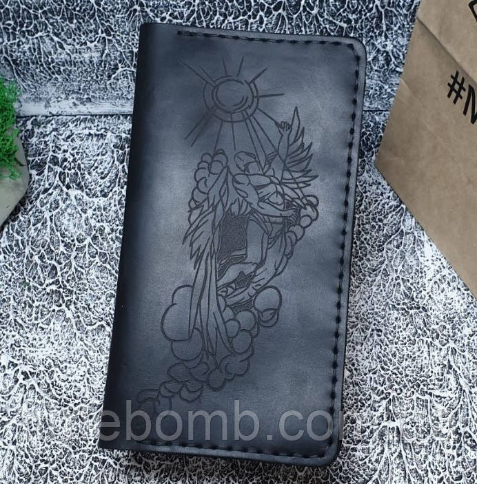 Мужской кожаный кошелек Ангел черный