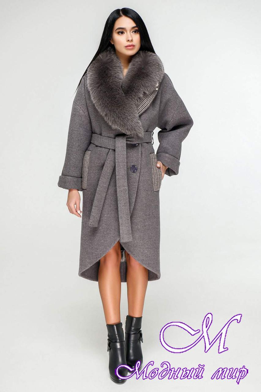 Зимнее женское пальто с большим мехом (р. 44-54) арт. 1089 Тон 13