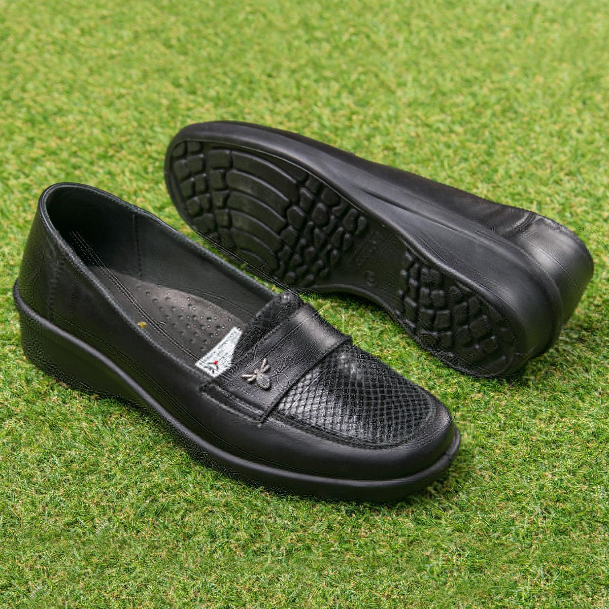Кожаные туфли с увеличенной полнотой Tellus Черные