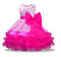 Праздничное платье для девочки малиновое на 3-7 лет