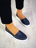 Мягкие кожаные слипоны 36-40 р т. синий