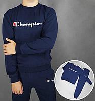 "Осенний темно-синий мужской спортивный костюм, чоловічий спортивний костюм ""Champion"", Реплика"