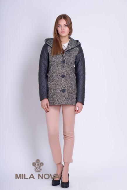 Короткое пальто женское с капюшоном серое