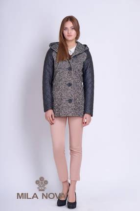 Короткое пальто женское с капюшоном серое, фото 2