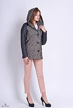 Короткое пальто женское с капюшоном серое, фото 3