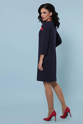 Деловое синее платье с рукавом три четверти длина миди, фото 2