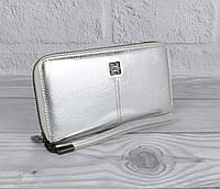 Кошелек женский кожаный на молнии Givenchy 6288 серебристый, фото 1