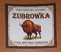 """Зубровка"" - наклейка на бутылку"