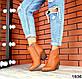 Женские ботинки казаки рыжие натуральная кожа Деми, фото 2