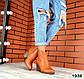 Женские ботинки казаки рыжие натуральная кожа Деми, фото 5