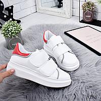 Кроссовки женские MQueen белые + красный 8288