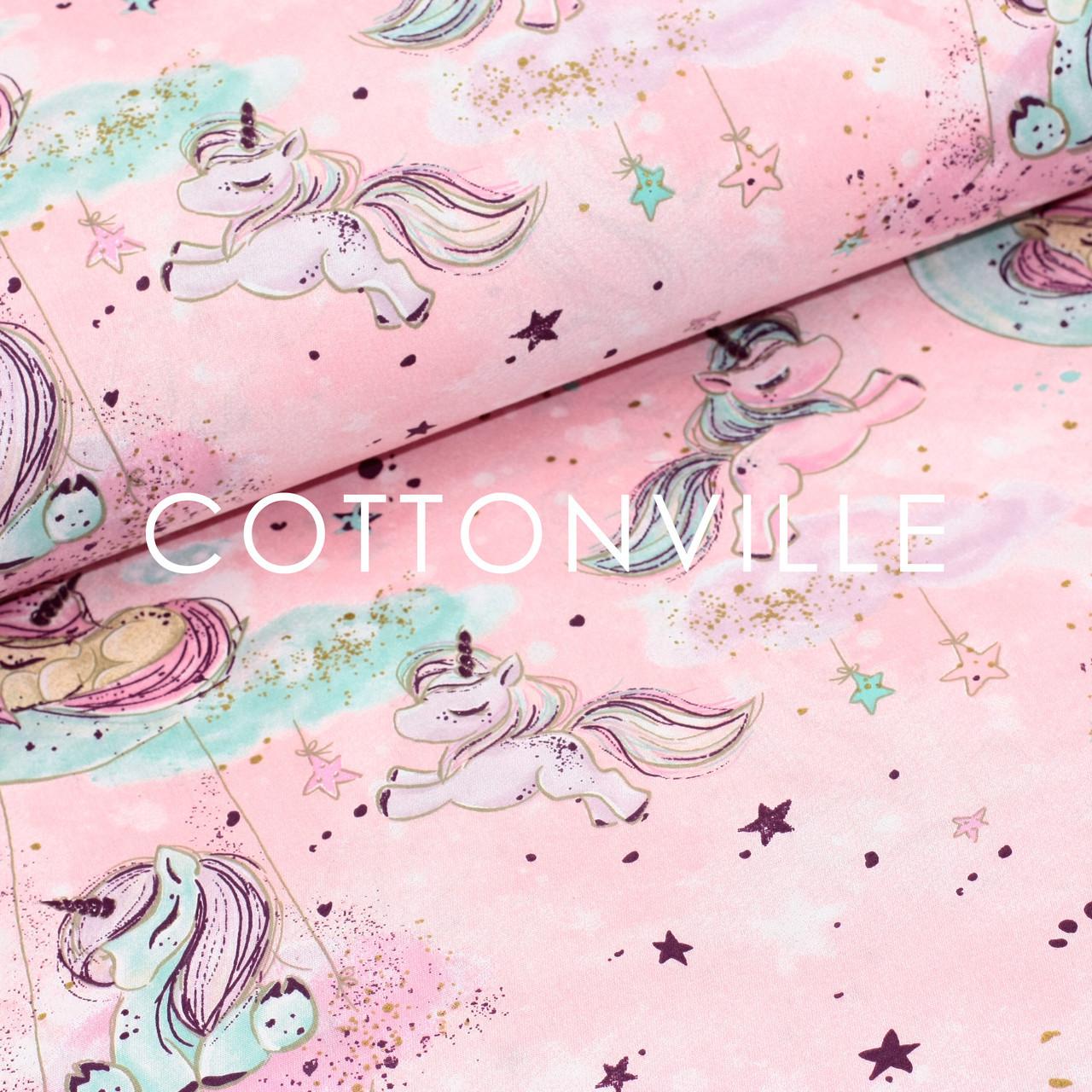 ✁ Отрез хлопковой ткани Единороги с золотистыми точками на розовом 100х80 см