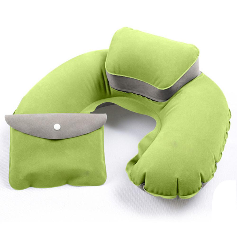 Дорожная надувная подушка для длительных поездок под шею (авто, самолет, поезд) в чехле зеленого цвета