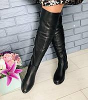 Модные зимние ботфорты кожаные высокие женские сапоги на низком ходу черные на овчине S41PY03-6R