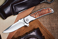 Нож складной с деревянной рукоятью, мощный и прочный, снабжен клипсой, увесистый с толстым клинком, фото 1