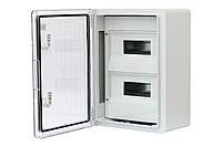 Шкаф ударопрочный модульный ABS 300x400x170, 12х2 с прозрачной дверцей, IP65
