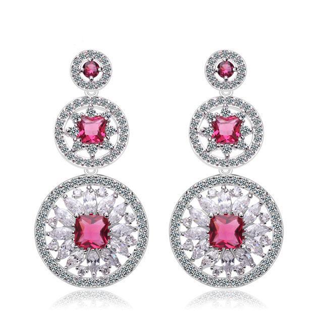 Серьги на свадьбу - Кристальный круг (Серебряные с розовым камнем)