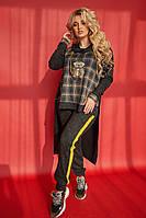 Женский теплый спортивный костюм кофта+штаны ангора цвет графит размер:58,60,62