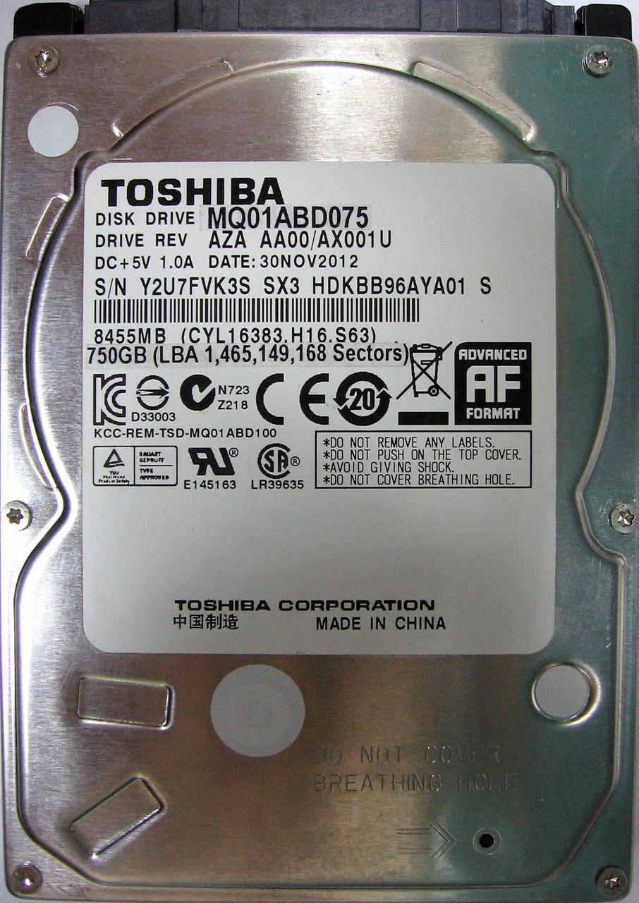 Жесткий диск HDD 750GB 5400rpm 8MB SATA II 2.5 Toshiba MQ01ABD075 Y2U7FVK3SSX3