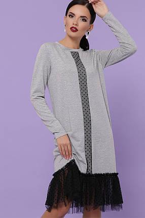 Демисезонное платье миди с длинным рукавом с фатином цвет серый, фото 2