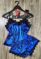 Синяя велюровая пижама майка и шорты с кружевом 049, одежда для сна.