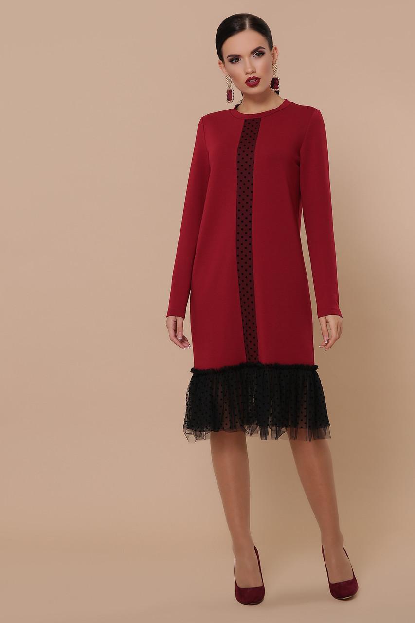 Осеннее платье до колен длинный рукав цвет бордо