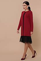 Осеннее платье до колен длинный рукав цвет бордо, фото 3
