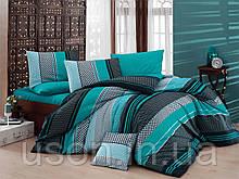 Комплект постельного белья ранфорс  Nazenin евро размер Zigo turkuaz