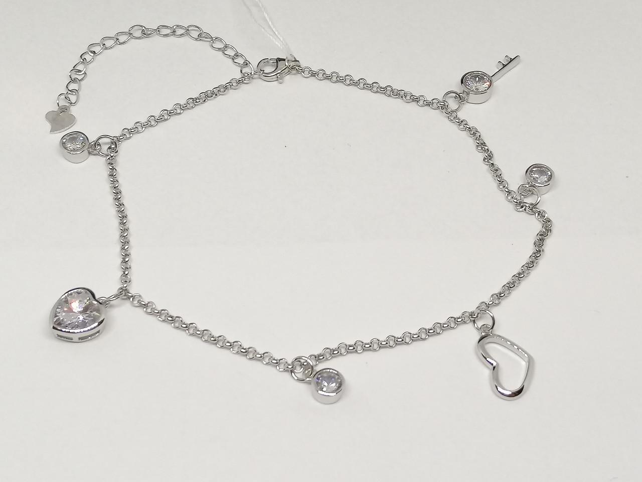 Срібний браслет на ногу з фіанітами. Артикул Б2Ф/433А
