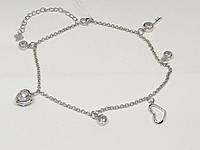 Срібний браслет на ногу з фіанітами. Артикул Б2Ф/433А, фото 1