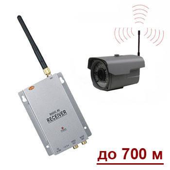 Комплект из беспроводной уличной камеры 1000 ТВЛ + приёмник видеосигнала, до 700 метров (модель LIA90W kit) с блоком питания 12 В/1A, до 250 метров (100 mW), 5. LCD приёмник без записи KY-2503