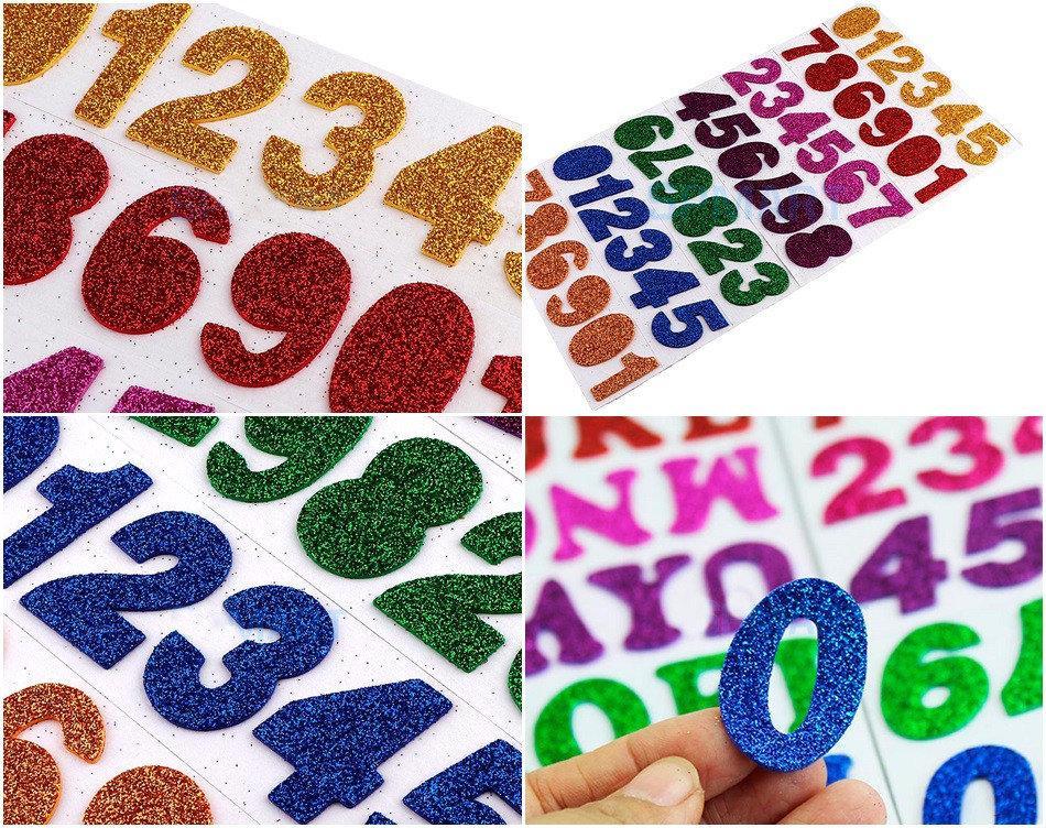 "Набор для творчества,""Цифры"" наклейки из фоамирана в блёстках, высота цифр ≈ 38мм (32х16см размер уп-ки)"
